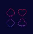 spade heart diamond and club line icons vector image