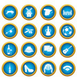 spain travel icons blue circle set vector image vector image