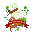 st patrick s day beer clover and banner vector image vector image