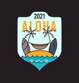 summer adventure sticker badge design surf emblem vector image vector image