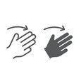 three fingers flick right line and glyph icon vector image vector image