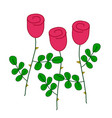 Three stylized red roses with green leaves simple