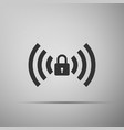 wifi locked sign icon isolated on grey background vector image vector image