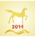 2014 new year gold horse silhouette