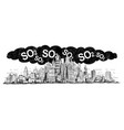 artistic drawing of city covered by smog and so2 vector image