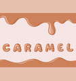 banner with caramel texture and donuts font text vector image