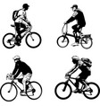 bicyclist sketch silhouettes - vector image