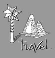 black and white design with a palm tree and a vector image vector image