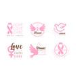 breast cancer fund logo templates design set vector image vector image