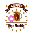 Cafe menu icon Coffee cup and donut vector image