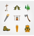 Camping equipment symbols and icons set