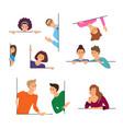 cartoon color characters people peeking concept vector image vector image
