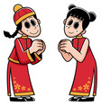 chinese boy and girl vector image