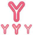 Crimson line y logo design set vector image vector image