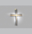 cross light shiny cross with golden frame vector image
