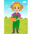 cute little girl gardener with basket vector image