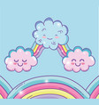 cute rainbow with kawaii fluffy clouds vector image vector image