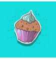 cute tasty doodle cupcake sticker fashion patch vector image