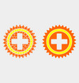 dot and flat medical cross icon vector image vector image