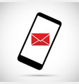 envelope on an mobile cell phone vector image vector image