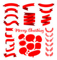 festive set of red ribbons speech bubbles vector image