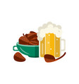 flat mug of golden beer with foam vector image vector image