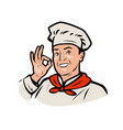 funny chef restaurant or cafe logo vector image vector image