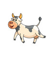 funny smiling spotted cow walking isolated on vector image vector image