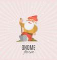 garden gnome with shovel cartoon vector image vector image