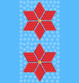 geometric red flower consisting of isometric cubes vector image