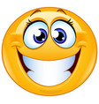 grinning female emoticon vector image vector image