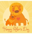 Happy Fathers Day card Cute lion and cub