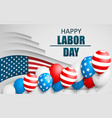 happy labor day holiday banner with american flag vector image vector image