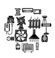 heat cool air flow tools icons set simple style vector image vector image