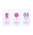 holiday thin line icons set sun surfing hotel vector image