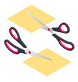 isometric scissors with red and black plastic vector image vector image
