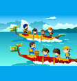 kids in a boat race vector image vector image