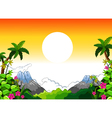 landscape with sunset background vector image vector image