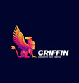 logo griffin mythology pose gradient colorful vector image
