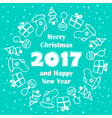 Merry Christmas and Happy New Year 2017 card vector image