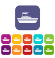 motor boat icons set vector image vector image