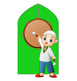 muslim kid holding stick standing in the front of vector image vector image