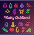 neon christmas icons set vector image