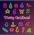 neon christmas icons set vector image