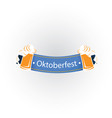 oktoberfest blue ribbon two mugs beer image vector image vector image