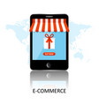 online shopping smartphone turned into internet vector image