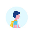 school boy profile avatar icon isolated male vector image