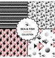 Sea and fish pattern set vector image