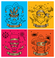 SET OF CARNIVAL CHARACTERS IN MASKS COSTUMES vector image vector image