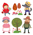 Set of characters from Little Red Riding Hood vector image vector image